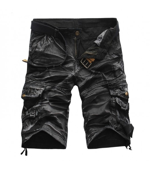 Cargo Shorts Black and White Camouflage
