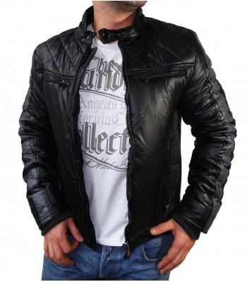Biker Winter Jacket Leather Imitation