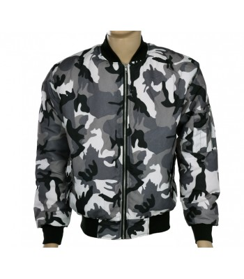 Gray Camo Military Air Force MA-1 Bomber jacket