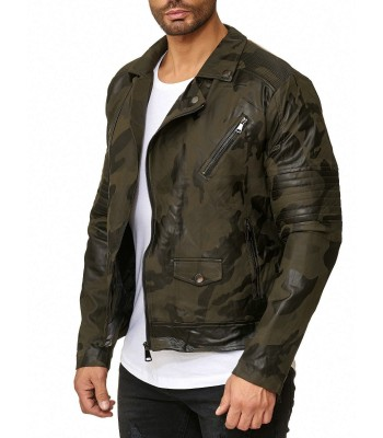 Biker Jacket Camouflage Art Leather Imitation