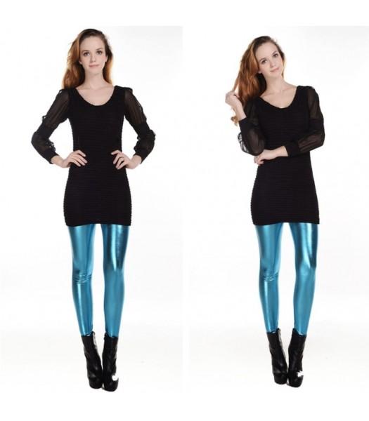 Leggings metallic ljusblå