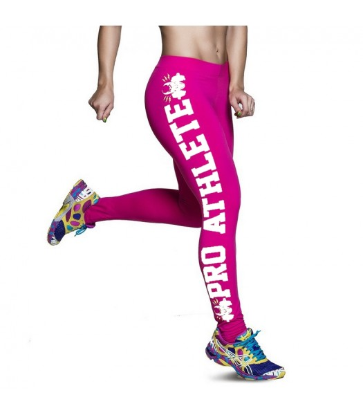 Leggings rosa med vit text