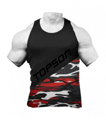 Tank Top black raw style red camo