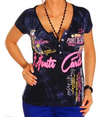T-shirt design women Monte Carlo dark blue