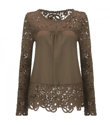 Blouse khaki with lace