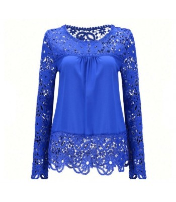 Blouse blue with lace
