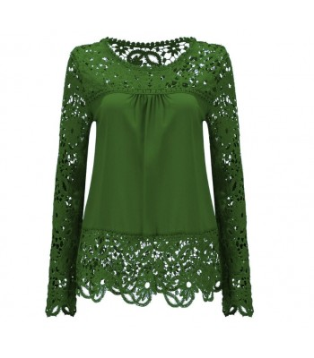 Blouse green with lace