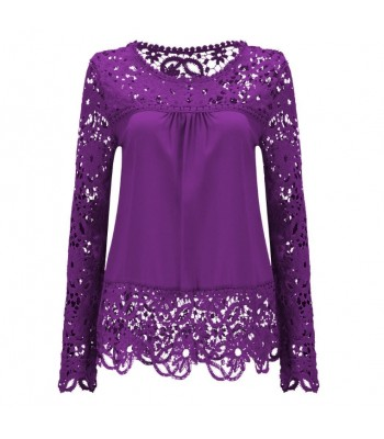 Blouse purple with lace