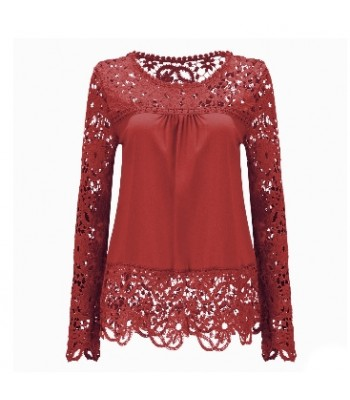 Blouse rose madder with lace