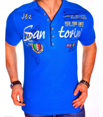 T-shirt design San Torini Blue