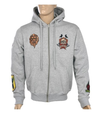 Hoodie gray with patches