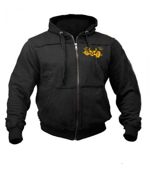 Sports Zip up Raw style Hoodie black with gold skull