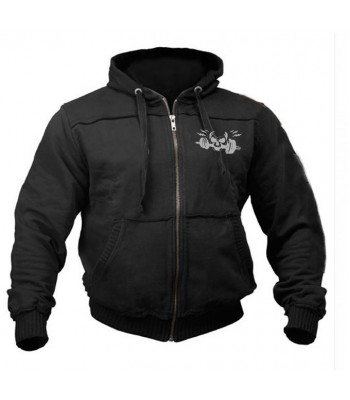 Sports Zip up Raw style Hoodie black with skull