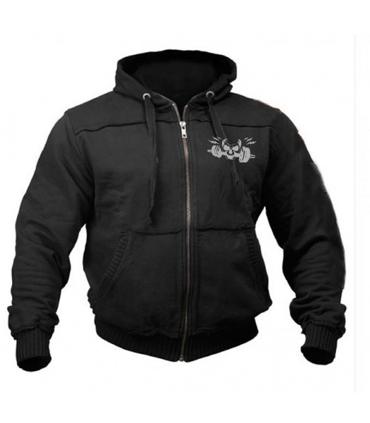 Sports Zip up Raw style Hoodie black with silver skull