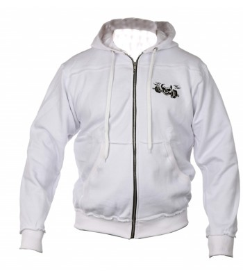 Sports Zip up Raw style Hoodie white with skull