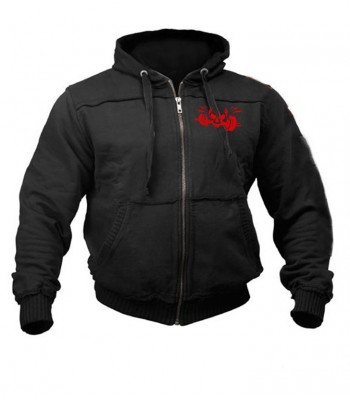 Sports Zip up Raw style Hoodie black with red skull