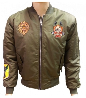 Green Bomber jacket with patches
