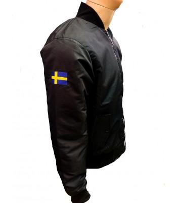 Black Bomber jacket with Swedish flag on arm