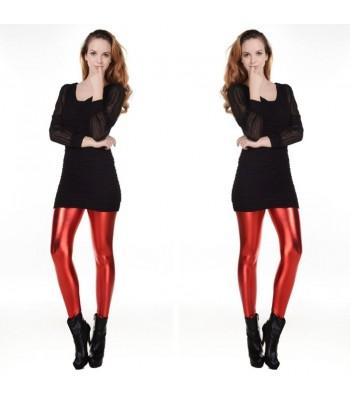 Leggings metallic röd